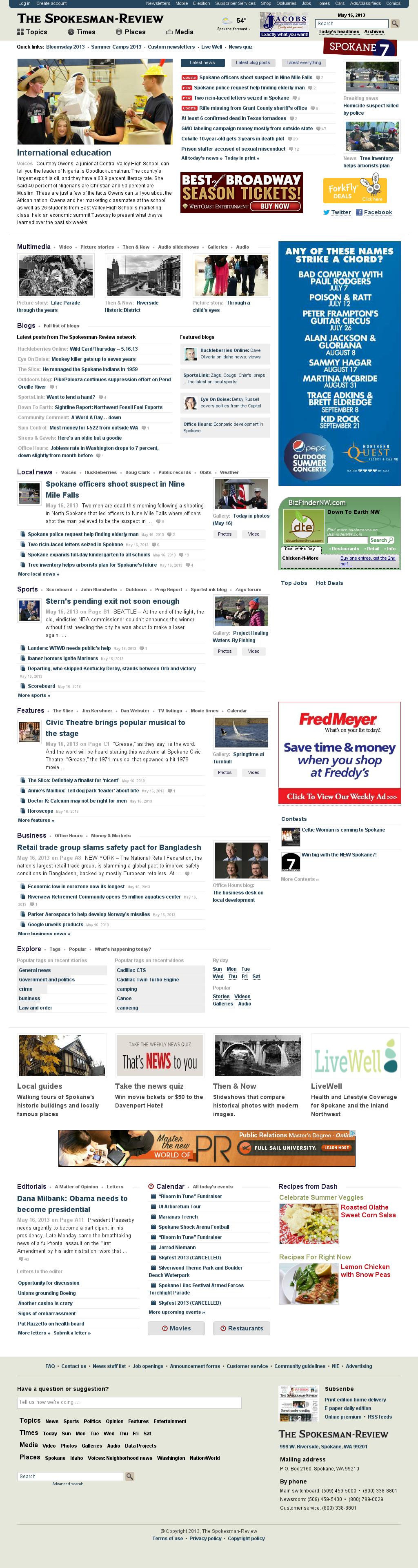 The (Spokane) Spokesman-Review at Thursday May 16, 2013, 7:20 p.m. UTC
