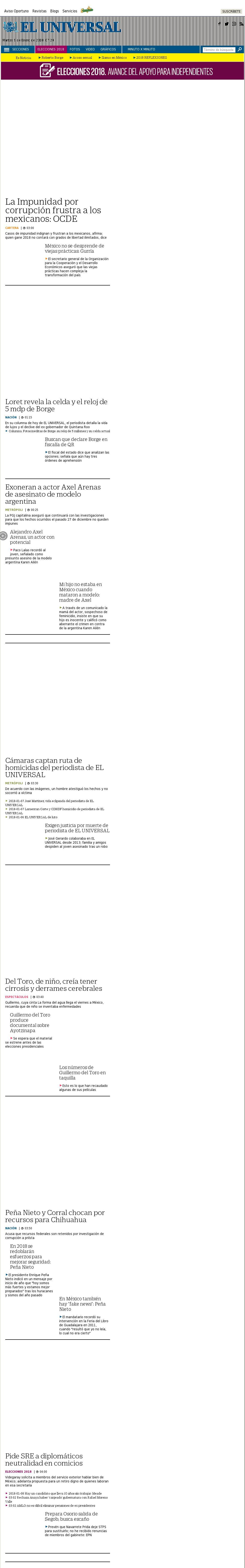 El Universal at Tuesday Jan. 9, 2018, 1:25 p.m. UTC