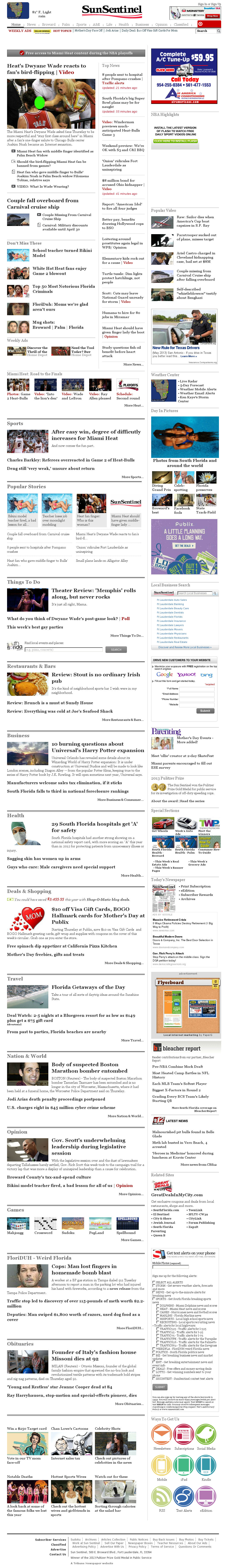 (Florida) Sun Sentinel at Thursday May 9, 2013, 10:47 p.m. UTC