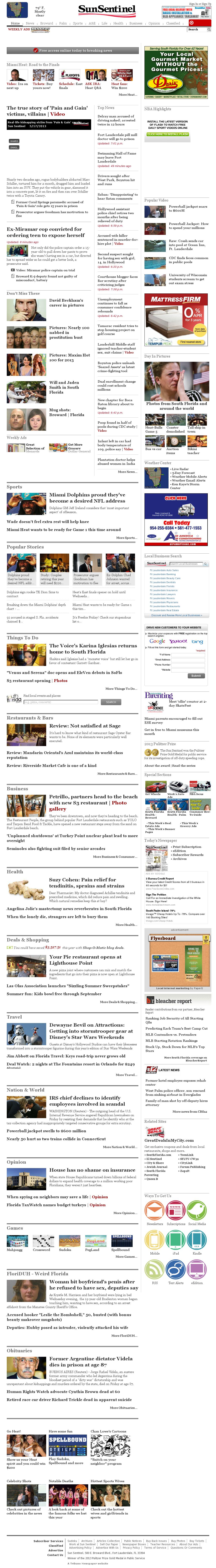 (Florida) Sun Sentinel at Saturday May 18, 2013, 1:24 a.m. UTC