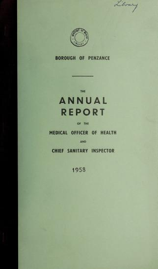 Cover of: [Report 1958]   Penzance (England). Urban District Council