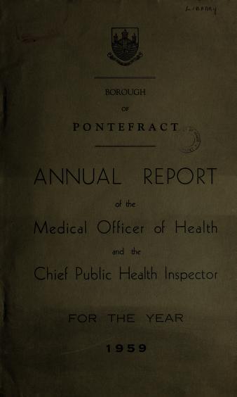 Cover of: [Report 1959] | Pontefract (England). Borough Council
